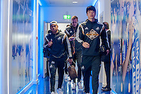LEICESTER, ENGLAND - APRIL 18: Jefferson Montero and` Ki Sung-Yueng of Swansea City  arrive at the King Power Stadium prior to the Premier League match between Leicester City and Swansea City at The King Power Stadium on April 18, 2015 in Leicester, England.  (Photo by Athena Pictures/Getty Images)