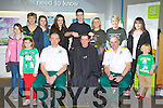 Kerry Ambulance members Tom Cox Kilcummin ( Kenmare Ambulance), Kevin Moore Castlegregory (Dingle Ambulane) and Shane Buckley Killorglin (Tralee Ambulance) who had their heads shaved in aid of the Irish Cancer Society at the Bank Of Ireland Killarney on Friday front row l-r: Sarah Cox, Kevin Moore, Shane Buckley, Sean Cox. Back row: Caoimhe, Mairead, Shauna and Laura Moore, Chris O'Riordan from Sean Taffee Barber's, Caoimhe Crowley, Denise Mullane and Patricia Cano..