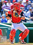30 May 2011: Washington Nationals catcher Wilson Ramos in action against the Philadelphia Phillies at Nationals Park in Washington, District of Columbia. The Phillies defeated the Nationals 5-4 to take the first game of their 3-game series. Mandatory Credit: Ed Wolfstein Photo