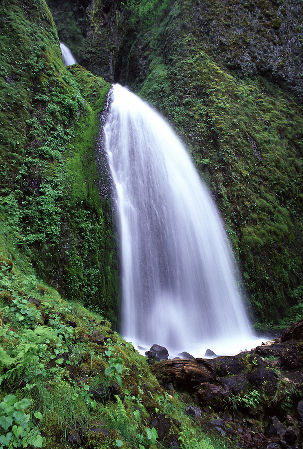 A waterfall cascades down a hillside in Oregon.