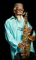 Pharoah Sanders performs at Jazz Fest 2014 in New Orleans, LA on Day 5.