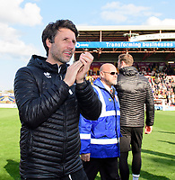 Lincoln City manager Danny Cowley celebrates after securing promotion from Sky Bet League Two<br /> <br /> Photographer Chris Vaughan/CameraSport<br /> <br /> The EFL Sky Bet League Two - Lincoln City v Cheltenham Town - Saturday 13th April 2019 - Sincil Bank - Lincoln<br /> <br /> World Copyright © 2019 CameraSport. All rights reserved. 43 Linden Ave. Countesthorpe. Leicester. England. LE8 5PG - Tel: +44 (0) 116 277 4147 - admin@camerasport.com - www.camerasport.com