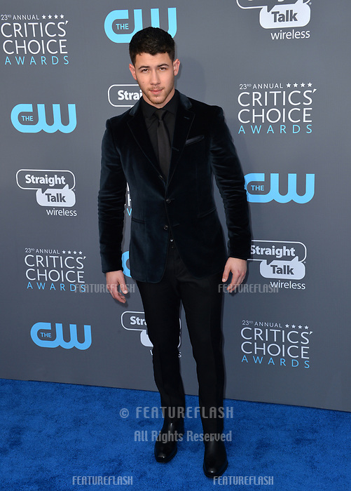 Nick Jonas at the 23rd Annual Critics' Choice Awards at Barker Hangar, Santa Monica, USA 11 Jan. 2018<br /> Picture: Paul Smith/Featureflash/SilverHub 0208 004 5359 sales@silverhubmedia.com