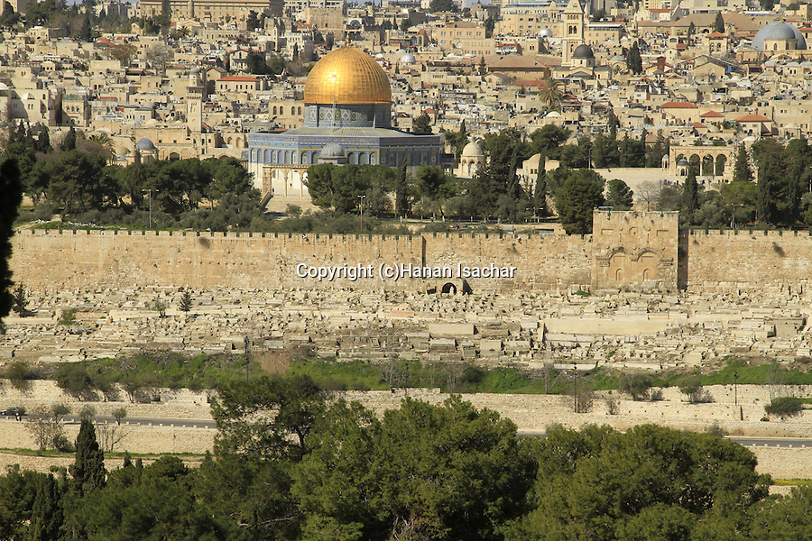Israel, Jerusalem, a view of Temple Mount from the Mount of Olives