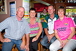 SEATS: Making sure they have good seats in Tom McCarthy's Bar castleisland on Sunday as they watch Kerry V Donegal in The All Ireland Football Final l-r: Ger and Liz Nagle and Neily O'Mahony (Knocknagoshel) and Mary Fitzgerald (Cordal).