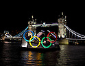 Tower Bridge with the Olympic Rings prior to London 2012 Olympic Games
