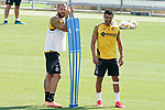 Getafe's David Timor (l) and Angel Rodriguez during training session. August 3,2020.(ALTERPHOTOS/Acero)