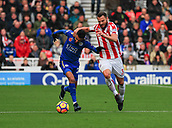 4th November 2017, bet365 Stadium, Stoke-on-Trent, England; EPL Premier League football, Stoke City versus Leicester City; Erik Pieters of Stoke City tries to get to grips with Riyad Mahrez of Leicester City