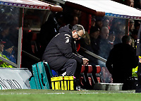 11th February 2020; Griffin Park, London, England; English Championship Football, Brentford FC versus Leeds United; A disappointed Leeds United Manager Marcelo Bielsa sitting on his personal stool from the dugout looking down on the pitch during the 2nd half
