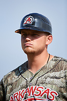 Arkansas Travelers Justin Seager (12) during a game against the Frisco RoughRiders on May 28, 2017 at Dickey-Stephens Park in Little Rock, Arkansas.  Arkansas defeated Frisco 17-3.  (Mike Janes/Four Seam Images)