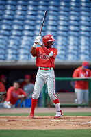 Philadelphia Phillies Johan Rojas (33) at bat during an Instructional League game against the Toronto Blue Jays on September 23, 2019 at Spectrum Field in Clearwater, Florida.  (Mike Janes/Four Seam Images)