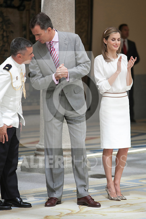 King Felipe VI of Spain and Queen Letizia of Spain during reception of `Ruta Quetzal BBVA 2014´ at Pardo Palace in Madrid, Spain. July 21, 2014. (ALTERPHOTOS/Victor Blanco)
