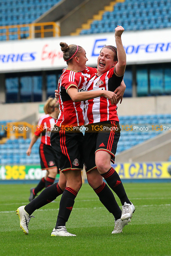 Keira Ramshaw of Sunderland AFC Ladies (L) celebrates but her effort is disallowed - Millwall Lionesses vs Sunderland AFC Ladies - FA Womens Super League Football at Milwall FC, the New Den, London - 26/10/14 - MANDATORY CREDIT: Gavin Ellis/TGSPHOTO - Self billing applies where appropriate - contact@tgsphoto.co.uk - NO UNPAID USE