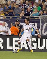 DC United midfielder Santino Quaranta (25) at midfield. The New England Revolution defeated DC United, 1-0, at Gillette Stadium on August 7, 2010.