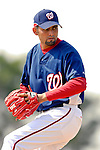 25 February 2007: Washington Nationals pitcher Luis Ayala throws some batting practice at their spring training facility in Viera, Florida. Ayala did not play due to an injury in 2006, but is in full throwing form for the upcoming season.<br /> <br /> Mandatory Photo Credit: Ed Wolfstein Photo
