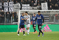 Calcio, Serie A: Juventus vs Inter. Torino, Juventus Stadium, 28 February 2016.<br /> Inter's Rodrigo Palacio, left, argues with Juventus' Hernanes during the Italian Serie A football match between Juventus and Inter at Turin's Juventus Stadium, 28 February 2016.<br /> UPDATE IMAGES PRESS/Isabella Bonotto