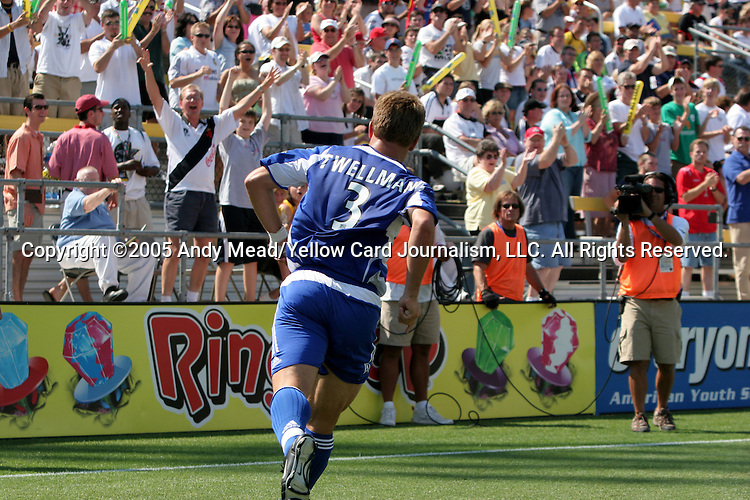 30 July 2005: Taylor Twellman celebrates after his 23rd minute goal had given MLS a 1-0 lead. Major League Soccer's All-Stars defeated Fulham FC of the English Premier League 4-1 at Columbus Crew Stadium in Columbus, Ohio in the 2005 Sierra Mist MLS All-Star Game.