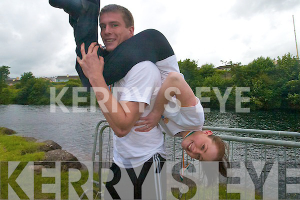 Jack Davies and Esme Wilson from Kenmare who came second in the National Wife-Carrying championships in Sneem on Saturday