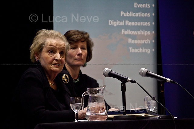"""Madeleine Korbel Albright, former United States Secretary of State - 2011<br /> <br /> London, 02/12/2011. Today LSE (London School of Economics) presented a public lecture called """"Global Political Challenges: Women Advancing Democracy"""" hosted by the former and first woman to be United States Secretary of State, Madeleine Korbel Albright. Chair of the event was Karen Smith (Professor of International Relations and Director of the European Foreign Policy Unit at LSE)."""