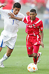 11 March 2008: Alberto Quintero (PAN) (16) holds off Rigoberto Padilla (HON) (7). The Honduras U-23 Men's National Team defeated the Panama U-23 Men's National Team 1-0 at Raymond James Stadium in Tampa, FL in a Group A game during the 2008 CONCACAF's Men's Olympic Qualifying Tournament.