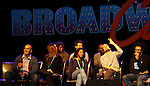 """One Life To Live Renee Elise Goldsberry who stars in Broadway's """"Hamilton - The Musical"""" with Lin-Manuel Miranda (2nd R) and cast Chris Jackson, Phillipa Soo, Okieriete Onadawan, Jonathan Groff, Leslie Odom, Jr., Daved Diggs (R) - all attending the first ever 3-day Broadway Con on January 22 - 24, 2016 at the Hilton Hotel, New York City, New York.  (Photo by Sue Coflin/Max Photos)"""