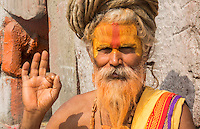 Kathmandu Nepal Sadus painted men pose for cportrait in Pashupatinath.Buddhist, Buddhism   98