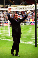 Gillingham Manager, Tony Pulis, acknowledges the Gillingham fans ahead of kick-off during Manchester City vs Gillingham, Nationwide League Division Two Football at Wembley Stadium on 30th May 1999