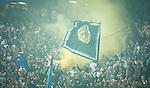 Solna 2014-08-13 Fotboll Allsvenskan AIK - Djurg&aring;rdens IF :  <br /> Djurg&aring;rdens supportrar med en flagga och gul r&ouml;k<br /> (Foto: Kenta J&ouml;nsson) Nyckelord:  AIK Gnaget Friends Arena Allsvenskan Derby Djurg&aring;rden DIF supporter fans publik supporters