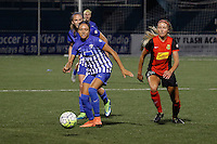 Rochester, NY - Friday May 27, 2016: Boston Breakers forward Kyah Simon (17) is trailed by Western New York Flash forward Courtney Niemiec (23). The Western New York Flash defeated the Boston Breakers 4-0 during a regular season National Women's Soccer League (NWSL) match at Rochester Rhinos Stadium.
