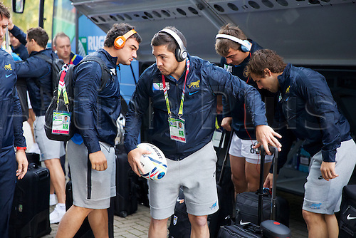 11.10.2015. King Power Stadium, Leicester, England. Rugby World Cup. Argentina versus Namibia. Argentinian players collect their bags off the team coach.