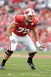 MADISON, WI - SEPTEMBER 9: Offensive lineman Joe Thomas #72 of the Wisconsin Badgers prepares to block against the Western Illinois Leathernecks at Camp Randall Stadium on September 9, 2006 in Madison, Wisconsin. The Badgers beat the Leathernecks 34-10. (Photo by David Stluka)