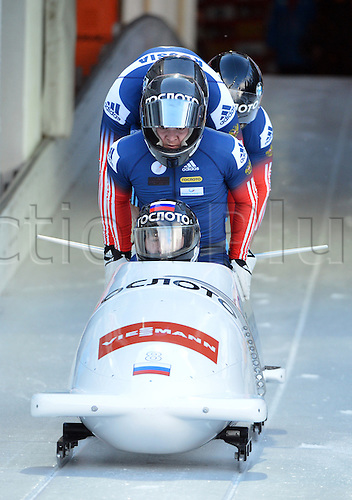 18.01.2015. Koenigssee, Germany.  Alexander Kasjanov, Aleksei Pushkarev, Ilvir Huzin and Maxim Mokrousov of Russia in action during the four-man Bobsleigh World Cup in Koenigssee, Germany