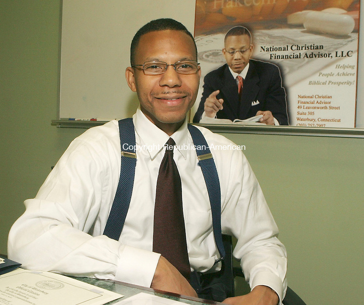 WATERBURY, CT-01 June 2005-060105TK06  Hakeem Webb of National Christian Financial Advisors, is a managing partner of an investment firm that is in the process of establishing a new urban credit union in Waterbury to take the place of the recently liquidated Need Action Federal Credit Union. Tom Kabelka staff photo (Hakeem Webb, National Christian Financial Advisors)CQ