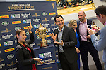 The Webb Ellis Cup is pictured as part of the Rugby World Cup Trophy Tour, delivered in partnership with Land Rover and DHL ahead of Rugby World Cup 2015 on December 09, 2014 in Hong Kong, China. Photo by Jerome Favre / Power Sport Images