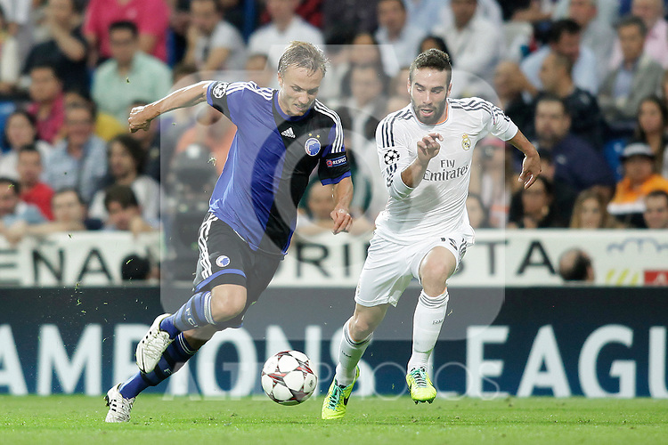 Real Madrid´s Carvajal (R) and Copenhague´s Bengtsson during Champions League 2013/2014 match. October 02,2013. (ALTERPHOTOS/Victor Blanco)