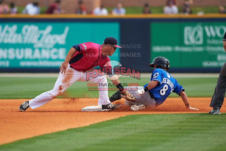 Pensacola Blue Wahoos second baseman Ryan Wright (6) attempts to tag Adam Weisenburger (8) sliding into second during the first game of a double header against the Biloxi Shuckers on April 26, 2015 at Pensacola Bayfront Stadium in Pensacola, Florida.  Biloxi defeated Pensacola 2-1.  (Mike Janes/Four Seam Images)