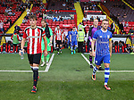 Callum Semple of Sheffield Utd and Jack Stobbs of Sheffield Wednesday lead out the teams during the U23 Professional Development League match at Bramall Lane Stadium, Sheffield. Picture date: September 6th, 2016. Pic Simon Bellis/Sportimage