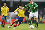 29 May 2008: John O'Shea (IRL) (2) pushes Falcao Garcia (COL) (9) away from the ball. The Republic of Ireland Men's National Team defeated the Colombia Men's National Team 1-0 at Craven Cottage in London, England in an international friendly soccer match.