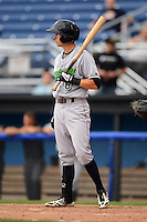 Jamestown Jammers shortstop Michael Fransoso #8 at bat during a game against the Batavia Muckdogs on June 27, 2013 at Dwyer Stadium in Batavia, New York.  The game was postponed in the 4th inning due to rain.  (Mike Janes/Four Seam Images)
