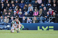 20130317 Copyright onEdition 2013©.Free for editorial use image, please credit: onEdition..Ben Botica of Harlequins prepares to take a kick during the LV= Cup Final between Harlequins and Sale Sharks at Sixways Stadium on Sunday 17th March 2013 (Photo by Rob Munro)..For press contacts contact: Sam Feasey at brandRapport on M: +44 (0)7717 757114 E: SFeasey@brand-rapport.com..If you require a higher resolution image or you have any other onEdition photographic enquiries, please contact onEdition on 0845 900 2 900 or email info@onEdition.com.This image is copyright onEdition 2013©..This image has been supplied by onEdition and must be credited onEdition. The author is asserting his full Moral rights in relation to the publication of this image. Rights for onward transmission of any image or file is not granted or implied. Changing or deleting Copyright information is illegal as specified in the Copyright, Design and Patents Act 1988. If you are in any way unsure of your right to publish this image please contact onEdition on 0845 900 2 900 or email info@onEdition.com