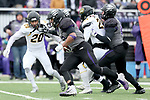 SIOUX FALLS, SD - NOVEMBER 10: Gabriel Watson #33 from the University of South Falls breaks loose for a touchdown against Wayne State during their game Saturday afternoon at Bob Young Field in Sioux Falls. (Photo by Dave Eggen/Inertia)