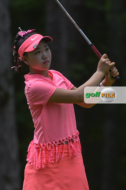 Luci Li (USA) watches her tee shot on 2 during round 1 of the U.S. Women's Open Championship, Shoal Creek Country Club, at Birmingham, Alabama, USA. 5/31/2018.<br /> Picture: Golffile | Ken Murray<br /> <br /> All photo usage must carry mandatory copyright credit (© Golffile | Ken Murray)