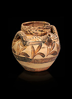 The Minoan spouted jug with floral design , Kamilari 1500-1300  BC; Heraklion Archaeological  Museum, black background