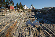 Pemaquid Point Light in Bristol, Maine USA. This light is located at the entrance to Muscongus Bay and was commissioned in 1827 by John Quincy Adams.