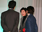 December 11, 2016, Tokyo, Japan - Tokyo Governor Yuriko Koike (C) chats with Japanese Prime Minister Shinzo Abe (L) and State Minister in charge of Tokyo 2020 Olympics Tamayo Marukawa as they attend the ground breaking ceremony for the new national stadium in Tokyo on Sunday, December 11, 2016.  The new national stadium will be finished in November 2019. (Photo by Yoshio Tsunoda/AFLO) LWX -ytd-