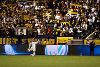 LA Galaxy midfielder David Beckham bends in a cornerkick. FC Dallas defeated the LA Galaxy 3-0 to win the Western Division 2010 MLS Championship at Home Depot Center stadium in Carson, California on Sunday November 14, 2010.