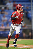 Altoona Curve shortstop Kevin Newman (2) runs to first base after a base hit during a game against the Binghamton Rumble Ponies on May 17, 2017 at NYSEG Stadium in Binghamton, New York.  Altoona defeated Binghamton 8-6.  (Mike Janes/Four Seam Images)
