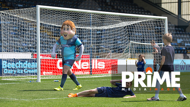 General view of Bodger the mascot and children during the Sellebrity Soccer match for Wycombe Sports & Education Trust at Wycombe Wanderers, Adams Park, High Wycombe, England on 28 May 2018. Photo by Andy Rowland.