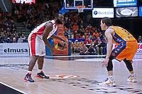 VALENCIA, SPAIN - 05/12/2014. Jenkins del Estrella Roja y Nedovic del Valencia Basket durante el partido. Pabellon Fuente de San Luis, Valencia, Spain.