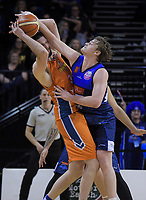Alex Pledger and Finn Delaney fight for the ball during the national basketball league semifinal match between Nelson Giants and Southland Sharks at TSB Bank Arena in Wellington, New Zealand on Saturday, 4 August 2018. Photo: Dave Lintott / lintottphoto.co.nz
